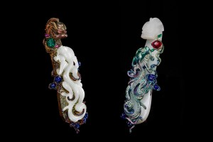 Wallace Chan broches A Tale of Two Dragons jade blanc, émeraudes, rubis, saphirs, saphirs roses, diamants de couleur