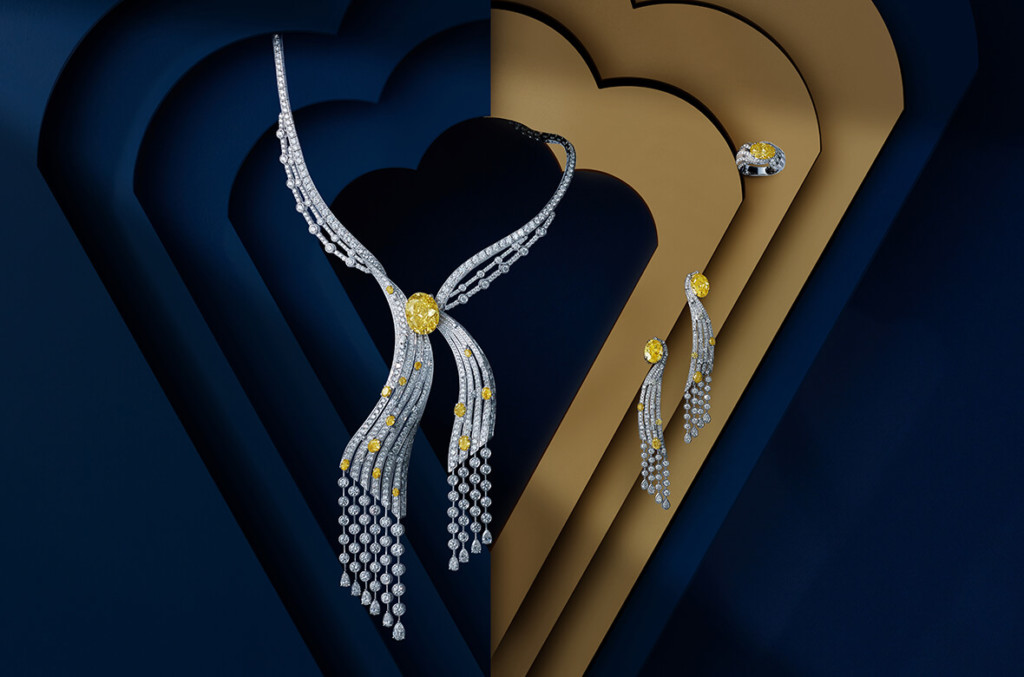 Collection LEGENDES collier LUMIERE, or blanc, diamants jaunes et diamants blancs