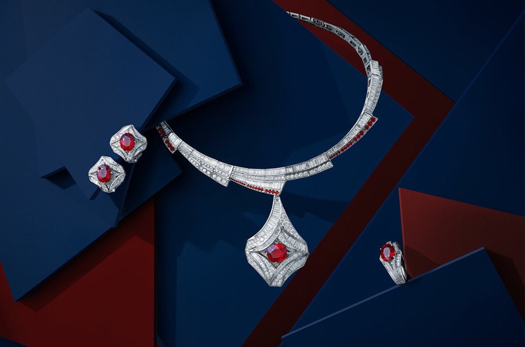 Collection LEGENDES parure Passion or blanc, rubis et diamants